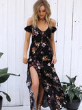 Pretty Floral Black Deep V Neck Off Shoulder Side Split Maxi Dress