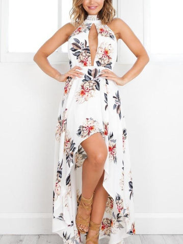 Sexy Sleeveless High Collar Hi-Lo Style Bohemia Maxi Dress