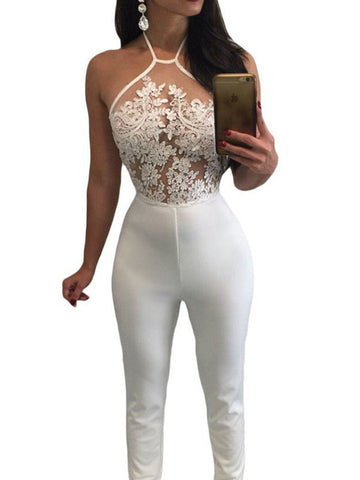 Sexy Hollow Lace Halter Straps Backless Long Jumpsuit
