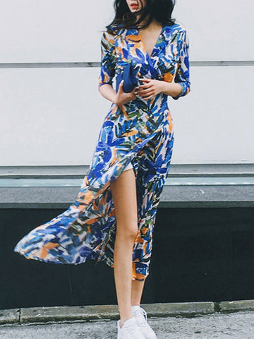 Half Sleeves V-neckline Split Front Print Bohemia Maxi Dress