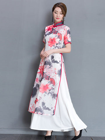 Pink Gray Ao Dai Long Cheongsam Dress With White Petticoat