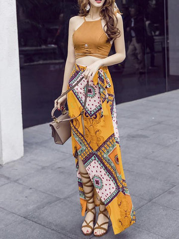 Bohemia Two-piece Brown Halterneck Tank-Top Long Asymmetric Skirt
