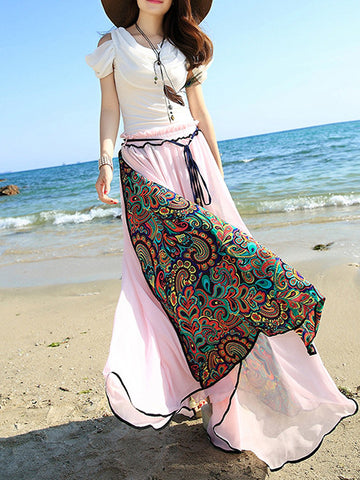 Popular Floral-Print Slim Fit Chiffon Beach Vacation Big Hem Bohemia Bottom Dress
