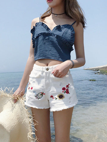Retro High Waisted Inwrought Floral-Print Shorts Bottoms
