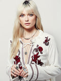 Bohemia Popular Fashion Flower Inwrought Long Sleeve V Neck T-Shirt Tops
