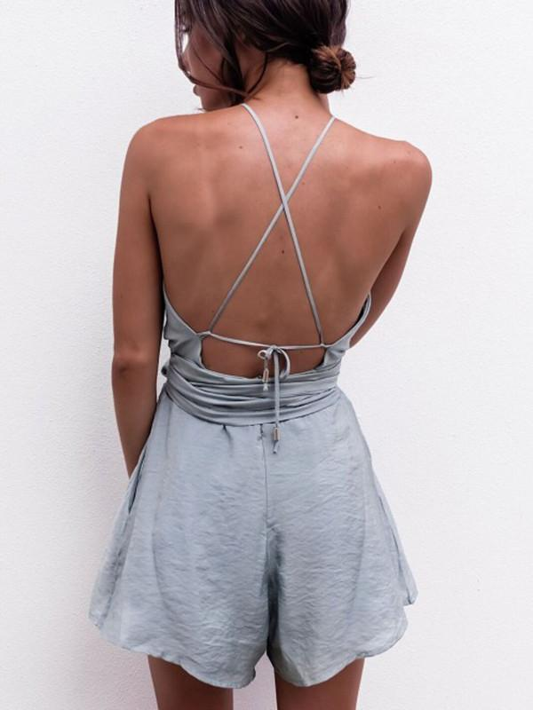 809efc080ea Pretty Sexy Solid Color Straps Off-Back Lace-Up Short Jumpsuits ...