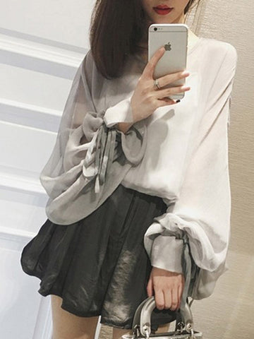 Popular Fashion Long Sleeve Round Neck Y-Short Tops And Loose Casual Shorts Bottoms