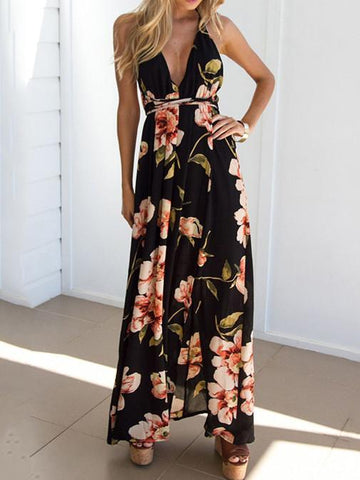 Pretty Sexy Floral-Print Sleeveless Deep V Neck Off-Back Maxi Dress