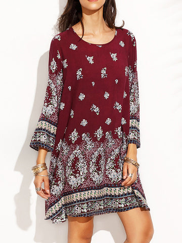 Elegant Bohemia Floral-Print Long Sleeve Round Neck Mini Dress