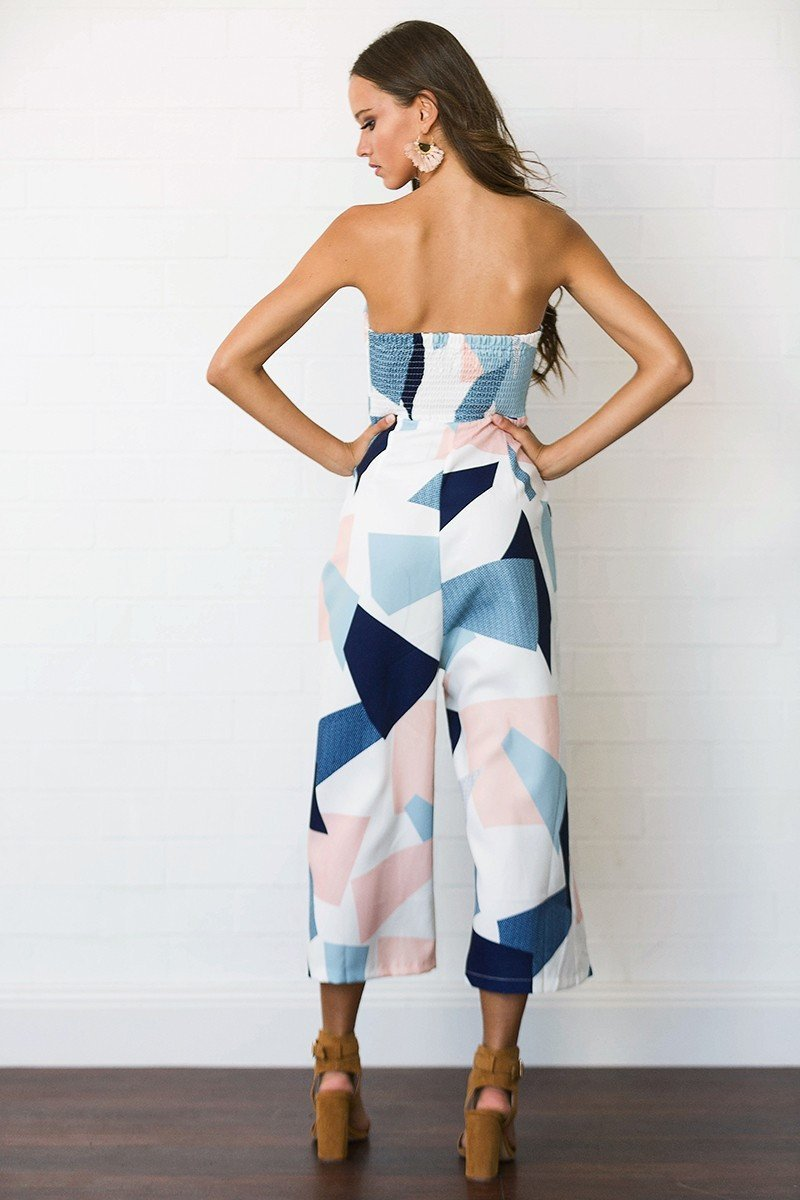 Fashion Color-Block Off-the-shoulder Backless Long Jumpsuits
