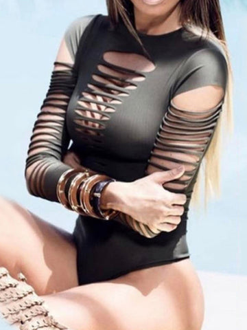 Sexy One-Piece Hollow Long Sleeves Bandage Summer Swimwear