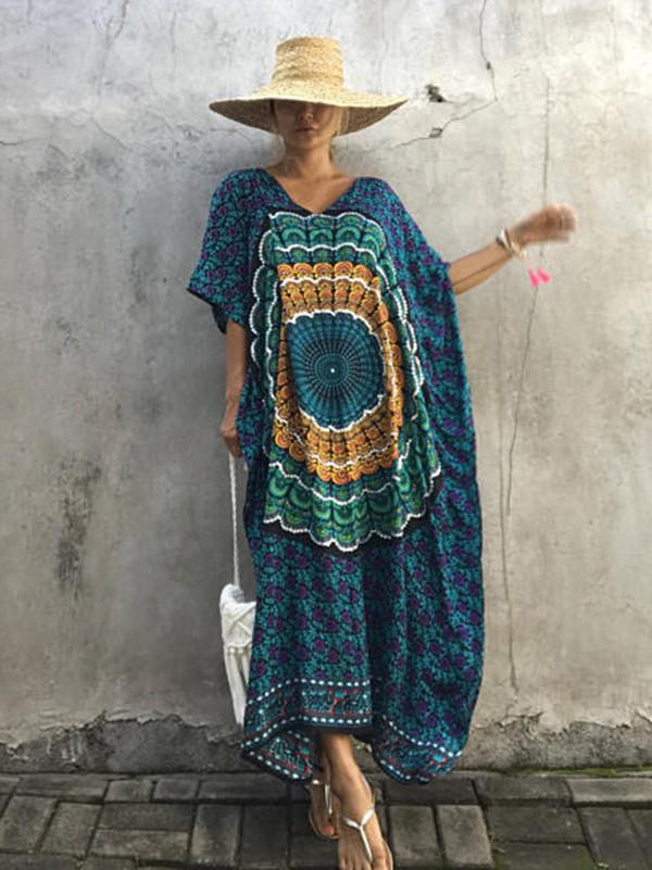 Floral-Printed Round Neck Short Sleeve Loose Maxi Kaftan Dress
