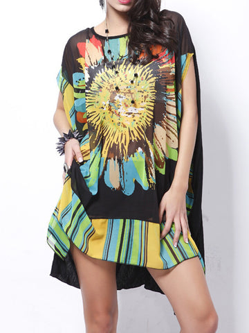 Green Sunflower Floral-Printed Short Sleeve Round Neck Mini Dress