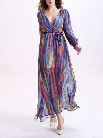 Beautiful Colorful Stripes Long Sleeve Deep V Neck Maxi Dress