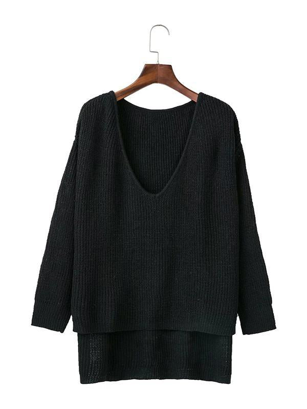 Solid Color Asymmetric V-neck Loose Sweater Tops