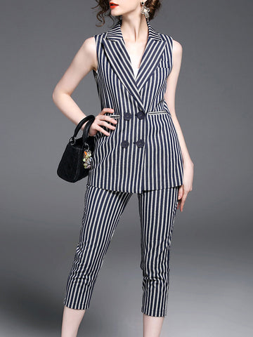 Pretty Striped Lapel Collar Sleeveless Suits Bottoms
