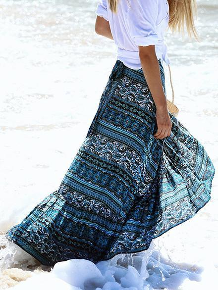 Bohemia Floral Printed Split Side Beach Skirt Bottoms