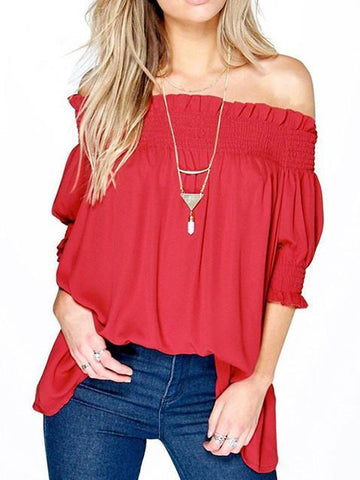 Fashion Solid Color Short Sleeve Off-the-shoulder T-Shirt Tops