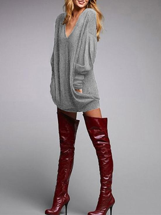 Autumn Fashion Solid Color V-neck Long Sleeve Sweater Tops