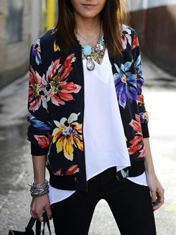 Pretty Floral Printed Stand Collar Zipper Bomber Jacket Tops