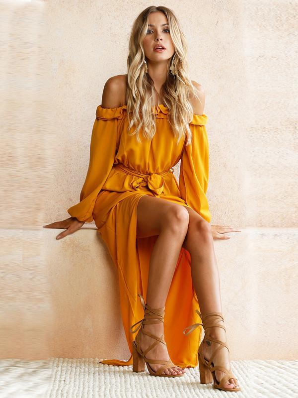 ce6791325eff Yellow Long Sleeve Off-the-shoulder Split-side Maxi Dress – oshoplive