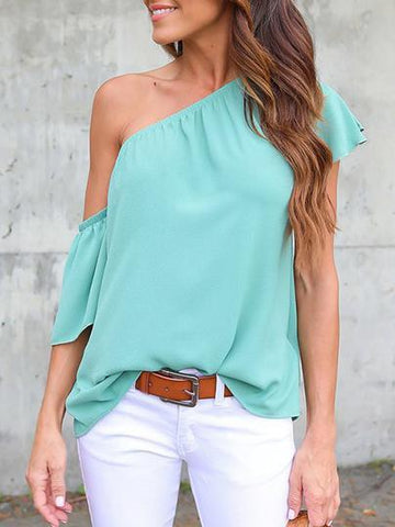 Solid Color One-shoulder Blouses&shirts Tops