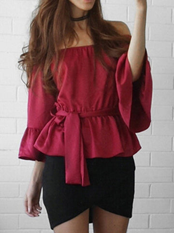 Plus Size Off-the-shoulder Flared Sleeves Blouse&shirt Tops