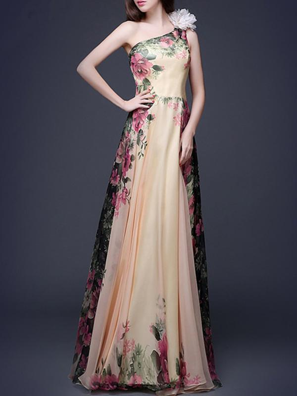 Chiffon One-shoulder Floral Printed Sleeveless Maxi Dress