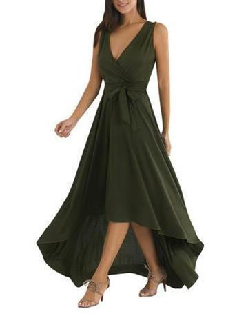 Sexy Asymmetric V-neck Belted Maxi Dress