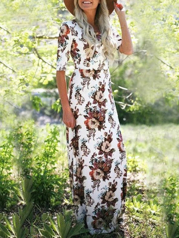 Bohemia Floral Printed Half Sleeves Maxi Dress