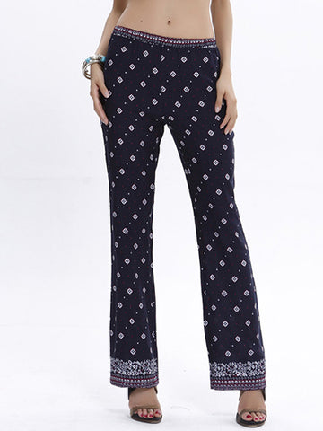 Polka-Dot Floral-printed Casual Pants