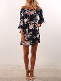 Blue Floral Printed Off-the-shoulder Falbala Mini Dress