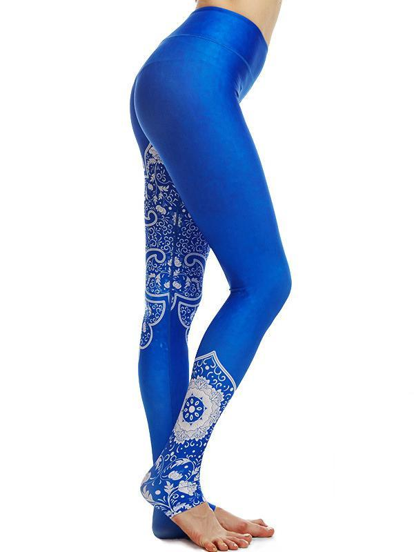 Blue Floral Sports Yoga Leggings Bottoms