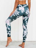 Floral&Leaves Printed Sports Yoga Leggings Bottoms