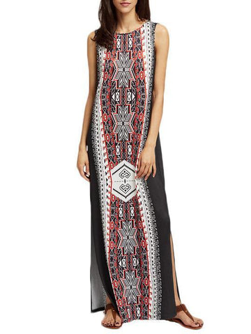 Black Split-side Sleeveless Bohemia Maxi Dress