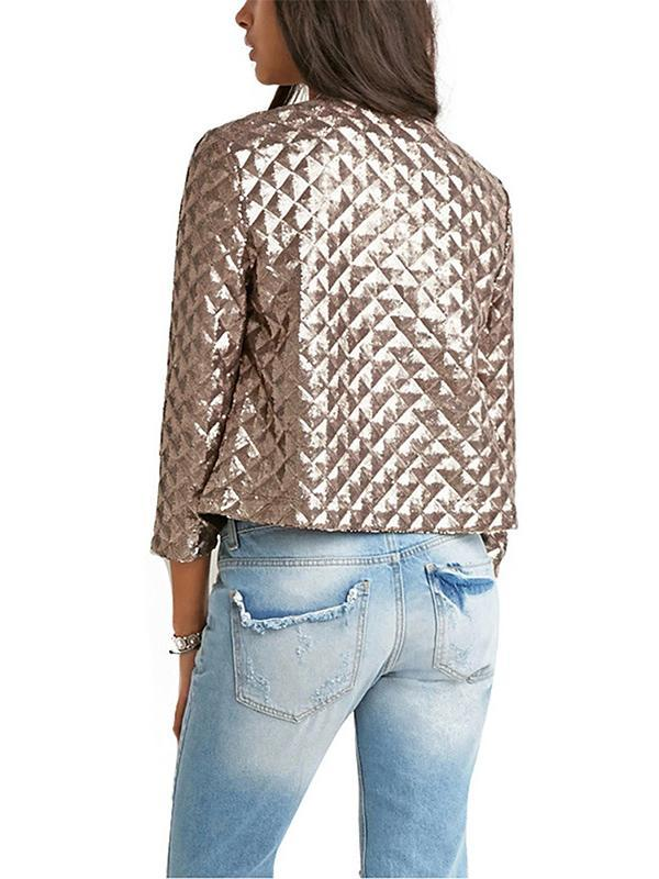 Pretty Apricot Sequined Jackets Outwears
