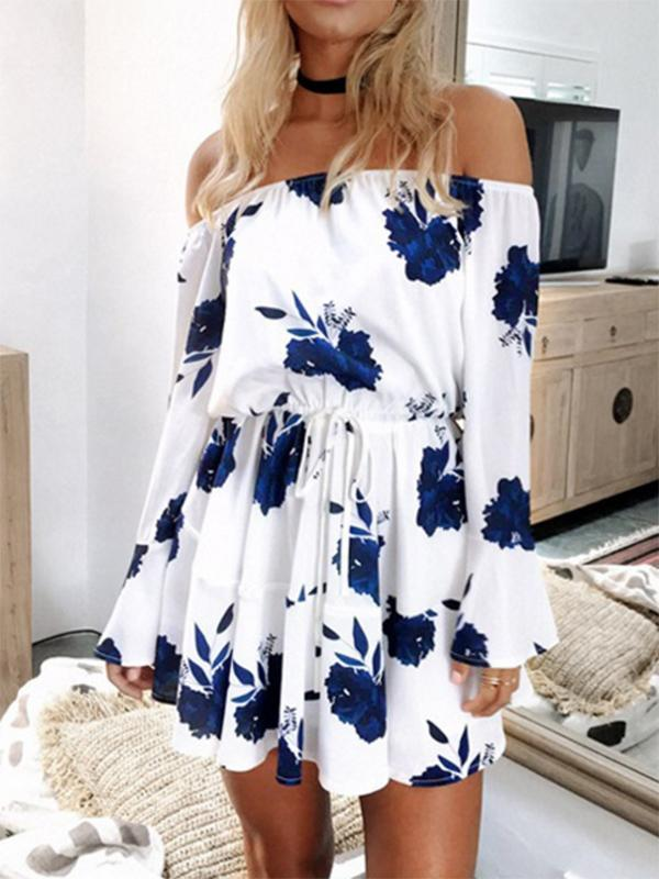 Floral Print Off-the-shoulder Ruffled Mini Dress