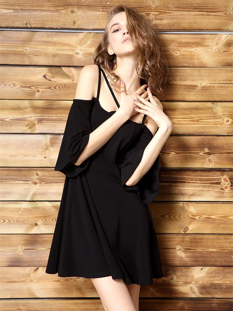 Black Spaghetti-neck Loose Mini Dress