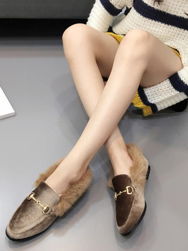 Solid Color Faux Fur Flat Shoes