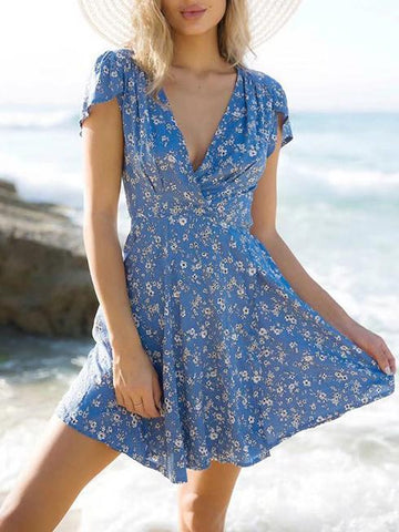 Blue Floral V-neck A-line Bohemia Mini Dress