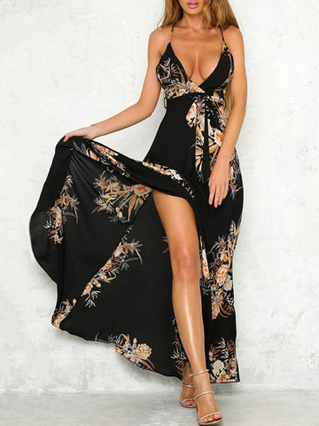 Bohemia Spaghetti-neck Backless Maxi Dress