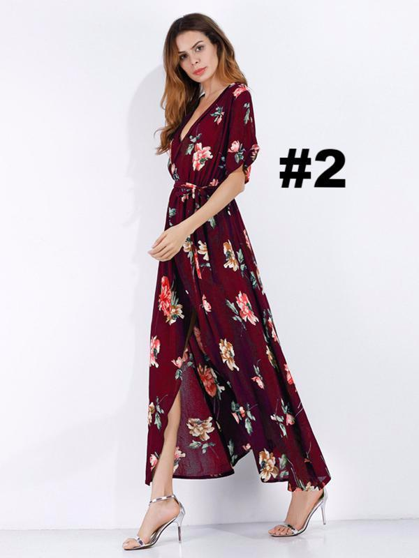 Pretty Floral High Slit Deep V-neck Maxi Dress