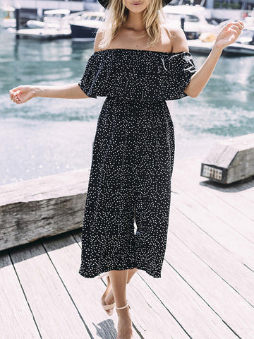 Pretty Off-the-shoulder Backless Long Jumpsuits