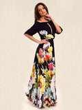 Floral Printed Off-the-shoulder Half Sleeves Maxi Dress