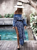 Off-the-shoulder Split-side Maxi Dress