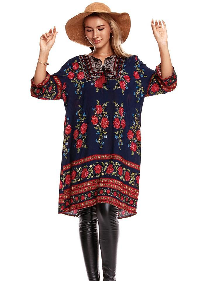 Bohemia Printed 3/4 Sleeves Loose Mini Dress