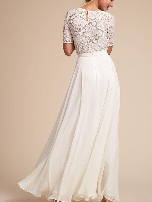 Classical White Lace Round Neck Short Sleeve Maxi Dress Evening Dress