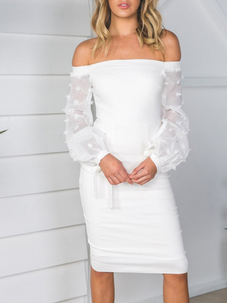 K'Mich Weddings - wedding planning - wedding dresses - off-shoulder long sleeve midi dress- oshoplive