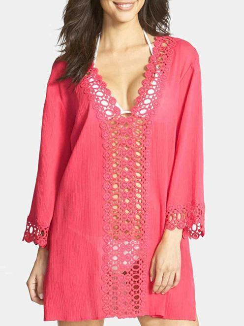 Pretty V-Neck Lace 3/4 Sleeve Blouse Cover-ups Tops