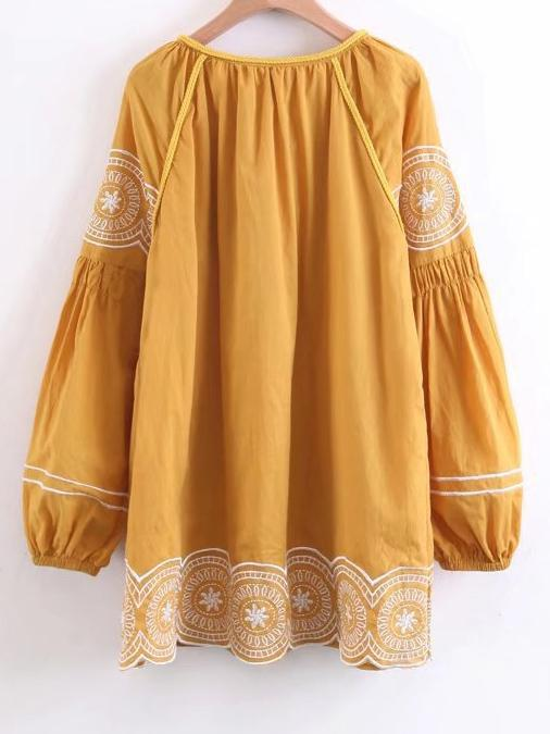 Embroidered Tasseled Puff Sleeves Mini Dress